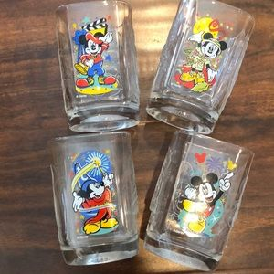 Disney McDonald's square glass cups. Set of 4